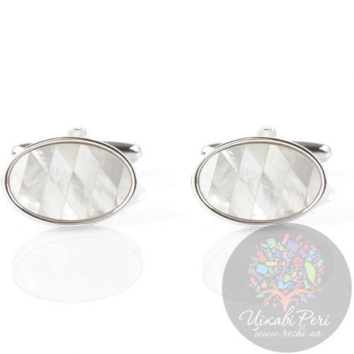 Запонки Guepard серебряного цвета овальные с перламутром, фото