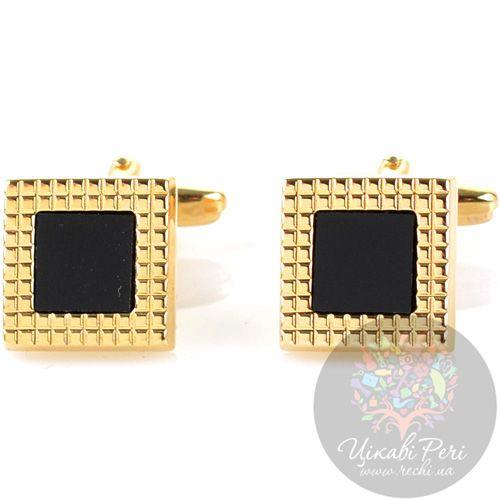 Запонки Guepard квадратные золотого цвета с черным ониксом, фото