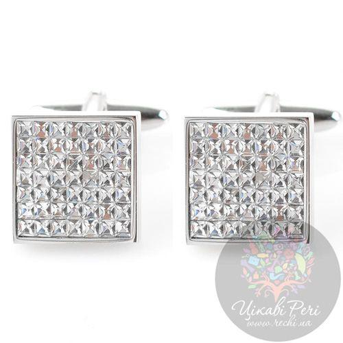 Запонки Guepard квадратные серебряного цвета с белыми фианитами, фото