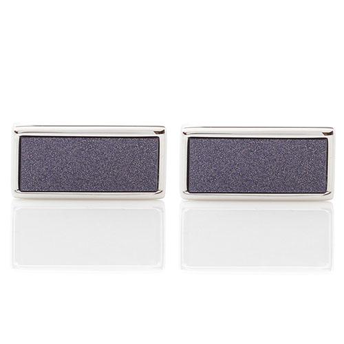 Запонки Guepard серебристого цвета с прямоугольным лазуритом, фото
