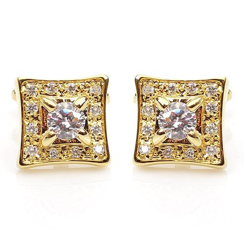 Запонки Guepard золотистого цвета инкрустированые кристаллами Сваровски, фото