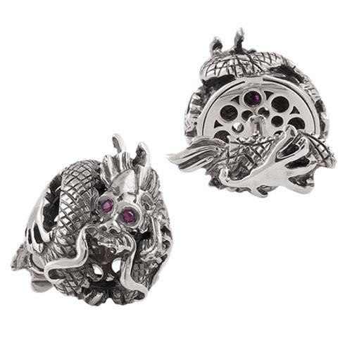 Коллекционные запонки Montegrappa Dragon с кристаллами, фото