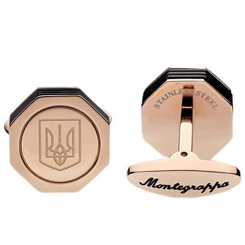 Стальные запонки Montegrappa NeroUno Ukraine с позолотой 18 К, фото