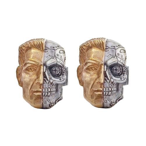 Серебряные запонки Silver Joy Киборг в позолоте, фото