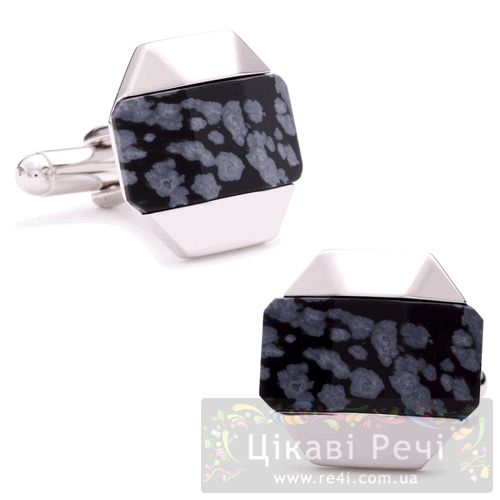 Запонки Thompson of London Mineral Octag Snow Obsidian, фото