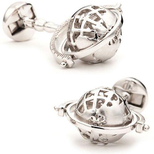 Запонки серебряные SILVER SKELETON GLOBE, фото