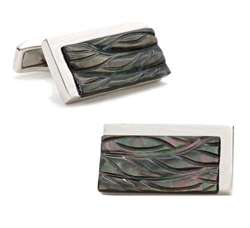 Серебрянные запонки SILVER CARVED RECT с черным перламутром, фото
