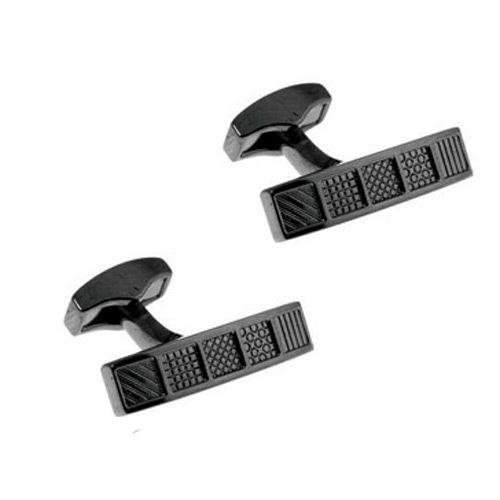 Запонки Tateossian Pattern rect metal gunmetal черные, фото