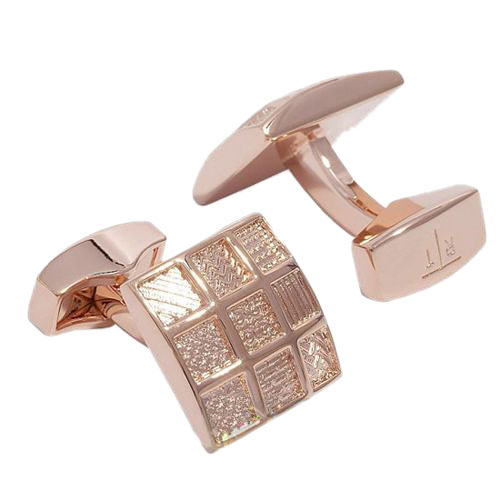Запонки PATTERN SQUARE METAL с розовым золотом, фото
