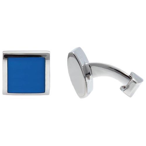 Запонки Tateossian Square Cushion с синими квадратами, фото