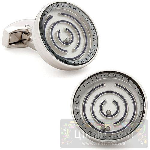 Серебряные запонки MIRROR MECHANICAL с лабиринтом, фото