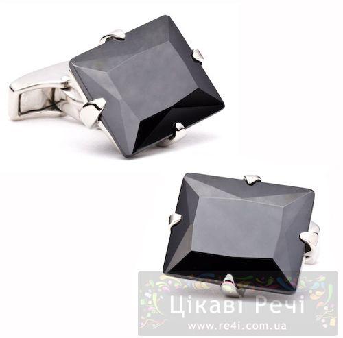 Серебряные запонки Jet Black с черным гематитом, фото