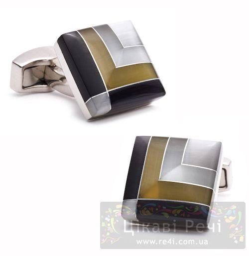 Запонки BARCODE SQUARE серо-коричневые, фото