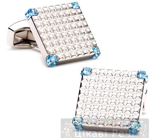 Запонки GRID с голубыми Swarovski, фото