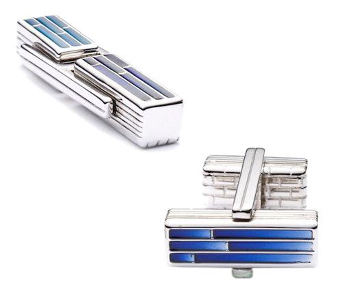 Запонки TWINS ENAMEL голубые, фото