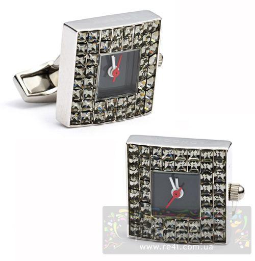 Запонки BLING WATCH Часы с черными Сваровски, фото