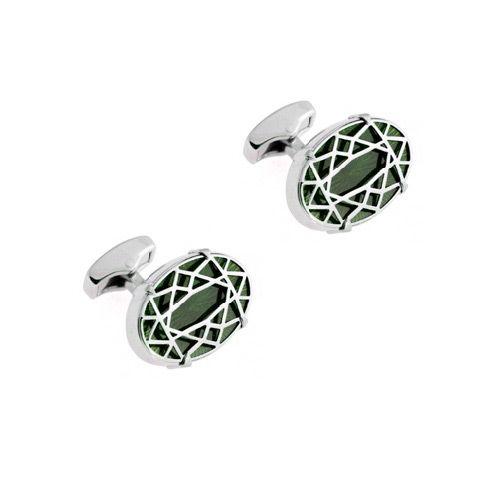 Запонки Diamond Cut зеленые, фото