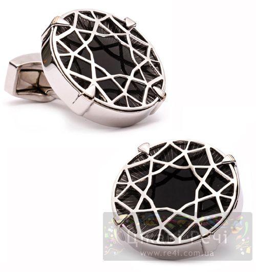 Запонки DIAMOND CUT черный оникс, фото