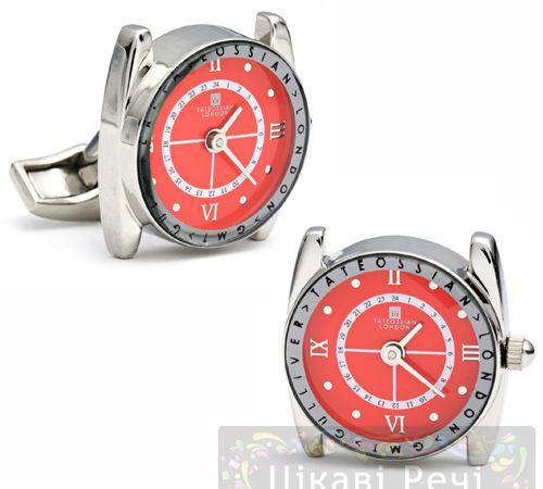 Запонки GULLIVER WATCH с часами красные, фото