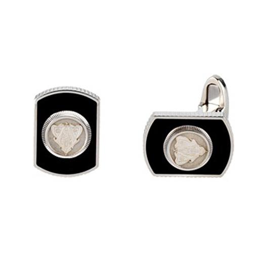 Серебряные запонки Gucci Crest декорированные черной эмалью и гербовой печатью Gucci, фото