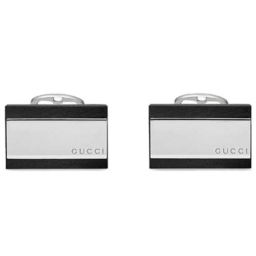 Прямоугольные запонки Gucci из серебра с кожаными вставками, фото