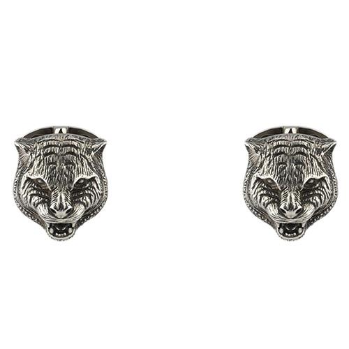 Серебряные запонки Gucci Garden в виде кошачьих голов, фото