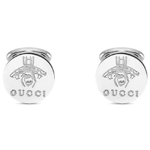 Круглые запонки Gucci из серебра с выгравированными пчелами, фото