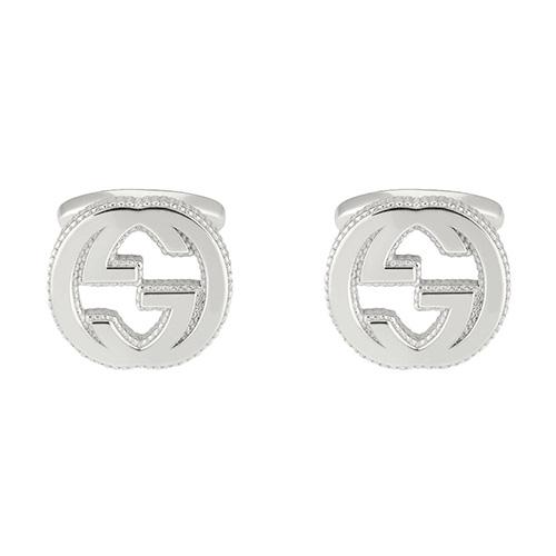 Запонки GucciInterlocking G логотип с текстурированным краем, фото