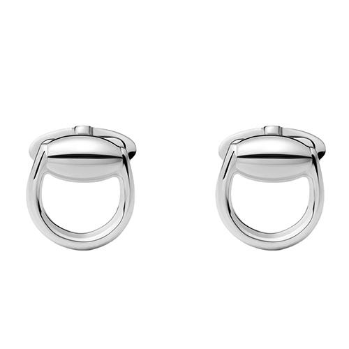 Серебряные запонки Gucci Horsebit в виде стремян, фото