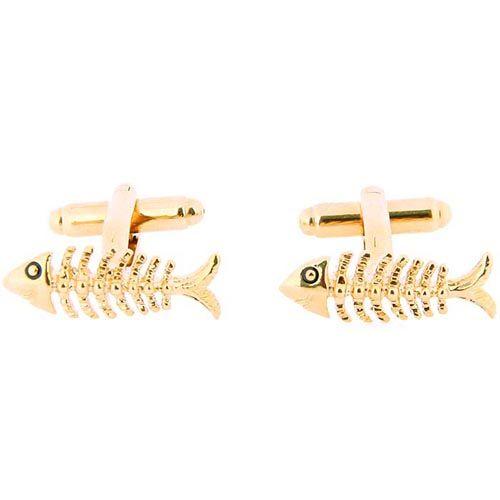 Запонки Jewels золотого цвета в форме рыбы, фото