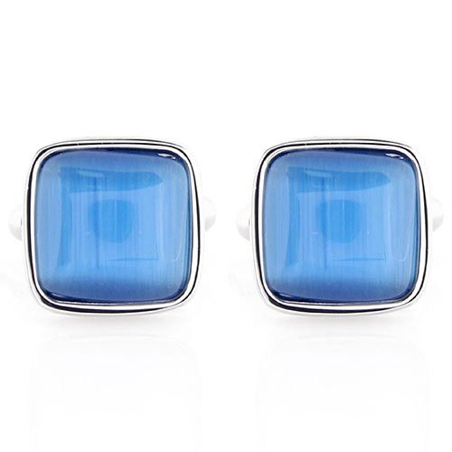 Запонки Jewels квадратные с синей вставкой, фото
