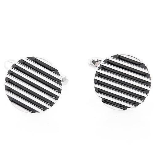Запонки Jewels круглые в черную полоску, фото