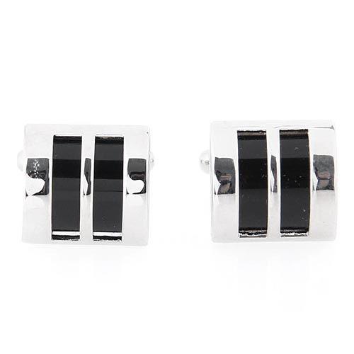 Запонки Jewels квадратные с вертикальными полосками с черной эмалью, фото
