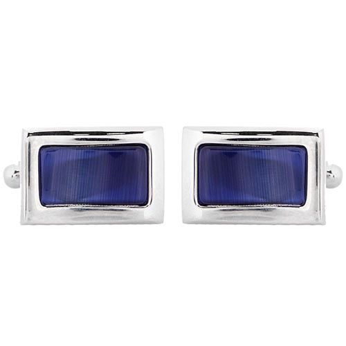 Запонки Jewels прямоугольные с синей вставкой, фото