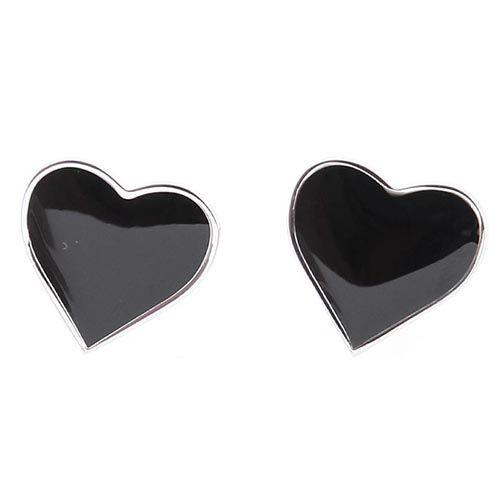 Запонки Jewels в форме сердца с черной эмалью, фото