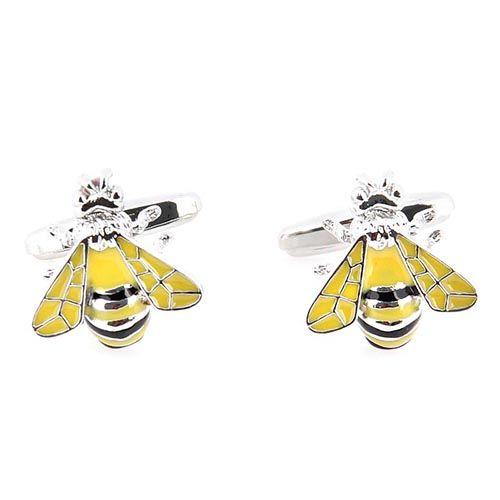 Запонки Jewels Пчелка с желто-черной эмалью, фото