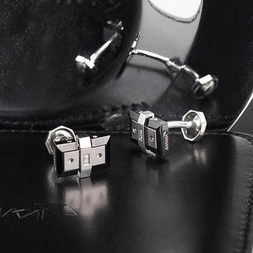 Итальянские запонки Baraka Kabala из нержавеющей стали с бриллиантами, фото