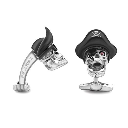 Запонки Deakin&Francis Silver в виде пиратского черепа, фото