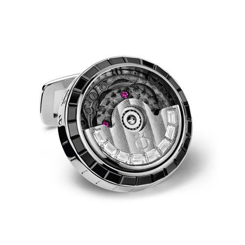 Механические запонки Milus с белыми и черными бриллиантами, фото