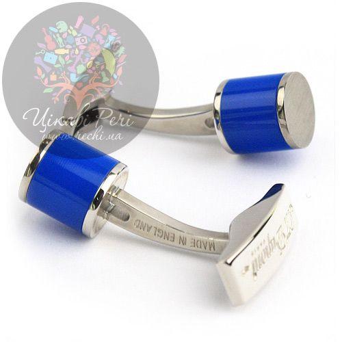 Запонки S.T.Dupont цилиндрические с синим лаком, фото