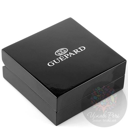 Запонки Guepard серебряного цвета с квадратными вставками черного оникса, фото