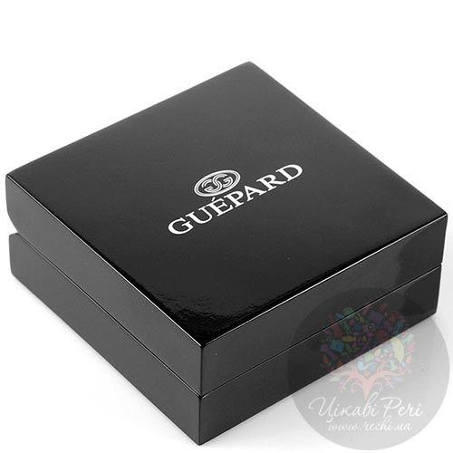 Запонки Guepard серебряного цвета вытянутой формы с белыми фианитами, фото