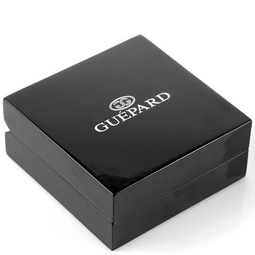 Запонки Guepard серебристого цвета с синим авантюрином прямоугольной формы, фото