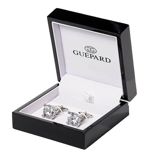 Запонки Guepard Diamond с крупными фианитами с бриллиантовой огранкой, фото