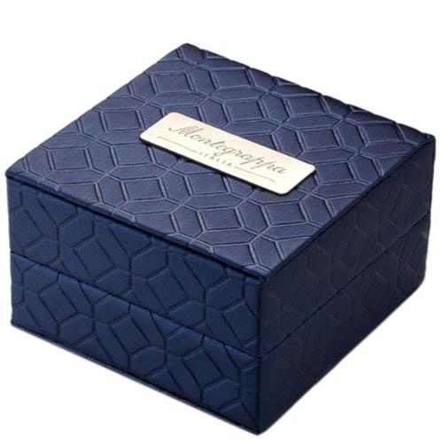 Запонки Montegrappa Parola из стали с синей эмалью, фото