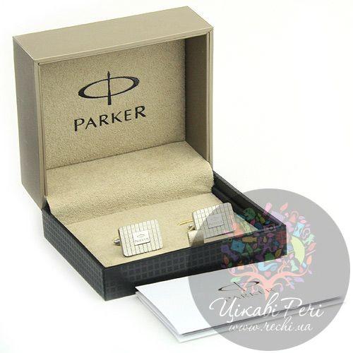 Запонки Parker прямоугольные с логотипом, фото