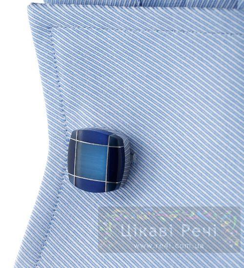 Запонки TARTAN FUSION синие, фото