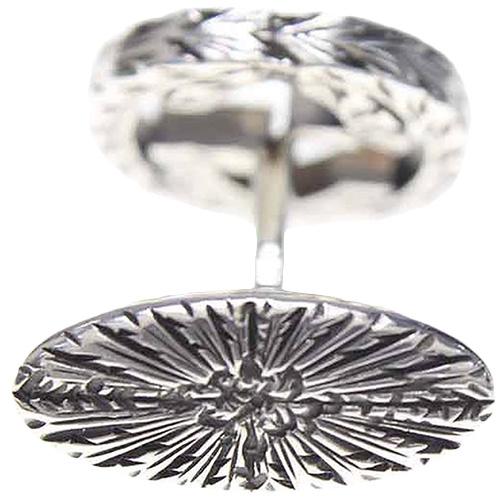 Серебряные запонки GucciInterlocking G с логотипом и гравированным рисунком, фото