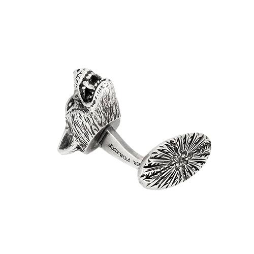 Серебряные запонки Gucci Anger Forest в виде волчьей головы, фото