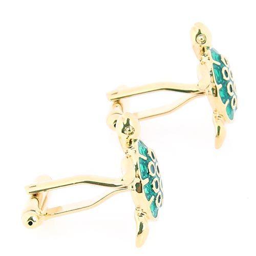 Запонки Jewels золотого цвета в форме черепашек с зеленой эмалью, фото
